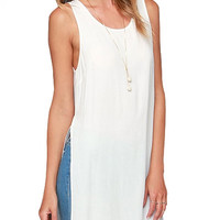 White Sleeveless Long Top with Side Slit