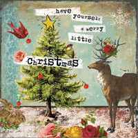 "Whimsical ""Have yourself a merry little Christmas"" wooden plaque.  Approx. 12""x12""x3/4""."