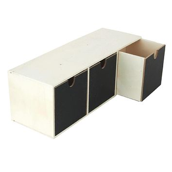 Drawer Desk Caddy 3-Compartment Chalkboard Wooden Box, 11-1/2-Inch