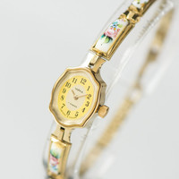 Gold plated women's watch Seagull ceramic jewelry inclusion flowers women's watch tiny cocktail watch rare