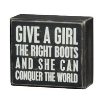 Conquer The World Box Sign