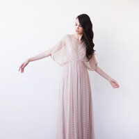 Fairy vintage Lace, Pink maxi dress with bat sleeves, Dress with slit , Lace maxi dress