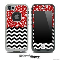 Mixed Red Floral Sprout and Chevron Pattern Skin for the iPhone 5 or 4/4s LifeProof Case