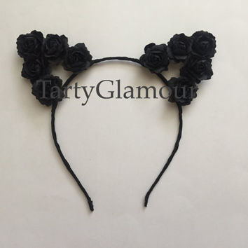 Black Rose Cat Ears Headband, Floral Cat Ears, Flower Cat Ears, Flower Headband, Flower Crown, Flower Halo, Coachella, Festival, Rave, EDC
