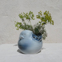 Porcelain blue bird flower vase by Virebent of France, decorative vase, retro vase, nursery decor, gifts for her, bird vase, unique gift