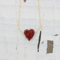 2015 limited edition! Heart red opal necklace, 14K gold filled chain, 10X10mm red opal charm gift - exclusive opal color! summer jewelry