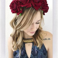 EZRA FLOWER CROWN- RED