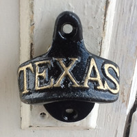 Great State Of Texas Black and Gold Bottle Opener  - Metal Wall Decor -Jet Black- Southern Style -Winter- Beer Opener-Ebony Black
