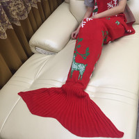 Hot Deal Birthday Gifts Knit Mermaid Sofa Blanket [9594669327]