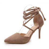 Cross-tied Pointed Toe Lace Up Pump