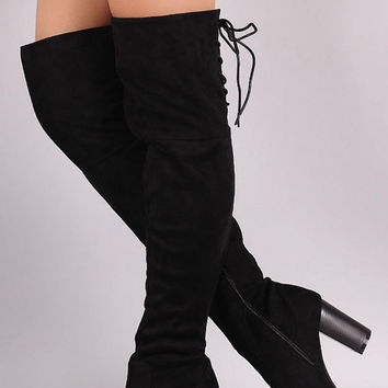 Over the Knee Lace Up Boots with Heel - Black