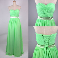 Cheap 2013 Strapless Sweetheart Floor Length Lime Green Chiffon Prom Dresses from 2013 New Dresses