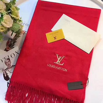 Bunchsun LV Trending Fashion Women Embroider Easy to match Silk Scarf Red G-TMWJ-XDH