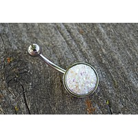 White Druzy Belly Button Ring