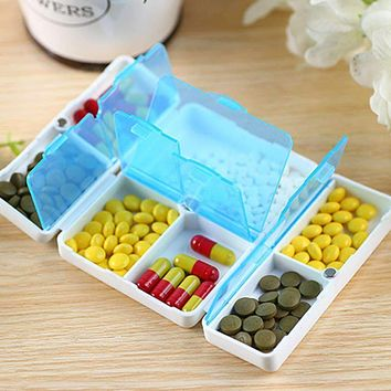 7 days/Week Holder Pill Box Medicine Case Mini Plastic Foldable Cary-on Pill Container Drug Tablet Storage Travel Case