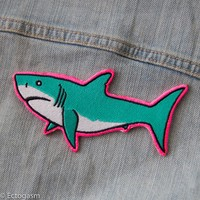 Neon Pink Shark Iron On Patch