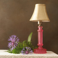 Vintage Crystal Table Lamp, Small Bedside Lamp Hand Painted in a Red Rose Color, Vintage Accent Lamp Perfect for Girls Room