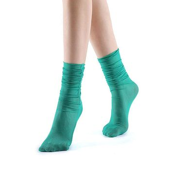 Neverminder Slouch Sheer Crew Sock | Green