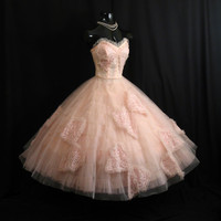 Vintage 1950's 50s Bombshell STRAPLESS Emma Domb Pink Tulle Lace Butterflies Circle Skirt Party Prom Wedding DRESS Gown Formal