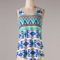 Aztec Print Tank Top - Royal Blue/Mint