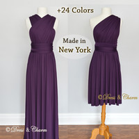 Dark Purple infinity dress, Bridesmaid dresses, Convertible dress, party dress, multi wrap dress