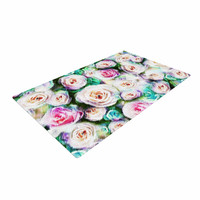 "Dawid Roc ""Bright Rose Floral Abstract"" Green Floral Woven Area Rug"