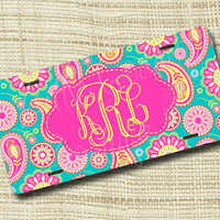 Custom Personalized License Plate, Monogrammed License Plate, Paisley 1
