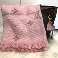 LV Stylish Comfortable Louis Vuitton Jacquard Cashmere Cape Scarf Scarves Shawl Accessories Pink