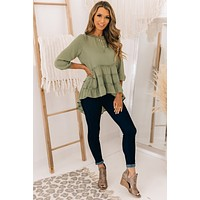 Better Off As Strangers High-Low Ruffle Top (Olive)