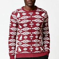 On The Byas Lee Jacquard Print Sweater - Mens Sweater - Red