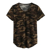 Women's T-shirt V Collar Sexy Summer Camo Short Sleeved Tshirt and Casual Camouflage Shirt Fashion Street Wear