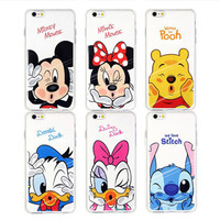 Hot Sale Fashion Ultra-thin Soft TPU Case For Apple iPhone 5 5S 6 6S 6plus 6s plus Minnie Mickey Phone Cases Cartoon Cover Skin