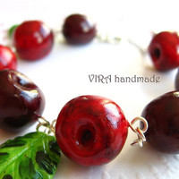 Cute handmade polymer clay realistic cherry with leafs red and green charm bracelet