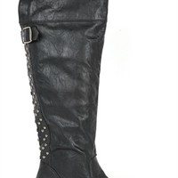 tall riding boot with studded back