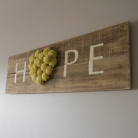 "Reclaimed Pallet Wood Sign - HOPE 38""X11"""