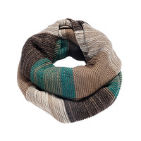 Men & Women Scarf  Multicolor Green Brown Red Women's Winter Knit Circle Scarf Patchwork Autumn Scarf  64cm x36cm