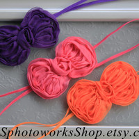 Baby Girl Hair Bow Set in Purple, Hot Pink & Orange - Summer Headbands for Babies, Toddlers - Mini Chiffon Bow Headbands for Baby Girls