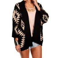 Black/Taupe Tribal Print Knit Sweater
