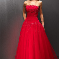 2013 Ball Gown Strapless A Line Floor Length Applique Tulle Quinceanera Dress With Beading GBP 94.65 VGUPNC64917 - VoguePromDressesUK