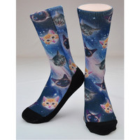 Cats in Space Sock - Original Artwork, Hand Printed in USA