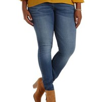 Plus Size Med Wash Denim High-Waisted Skinny Jeans by Charlotte Russe