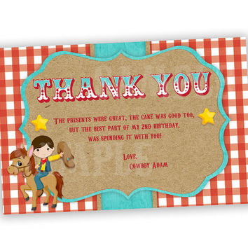 Retro Cowboy Birthday Thank You Cards - Western Cowboy Party Thank You Tags - Boy Horse Red Gingham Star Sheriff Vintage Thank You Card