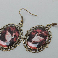 Handmade unique oval metal frame vintage earrings with images of ballerinas