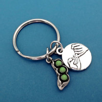 Pea in a pod, Promise, Keychain, Keyring, Sister, Birthday, Gift, Idea, Key Chain, Key Ring, Friendship, Best Friend, Jewelry, Accessories