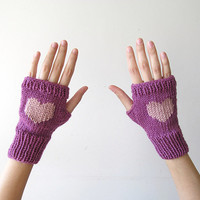 Hand Knit Fingerless Gloves in Dark Lilac - Pinkish Powder Embroidered Heart - Seamless Knit Gloves - Wool Blend-Ready to Ship