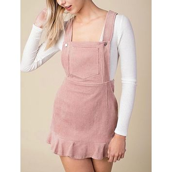 FINAL SALE - Honey Punch - Corduroy Mini Overall Dress in Baby Pink