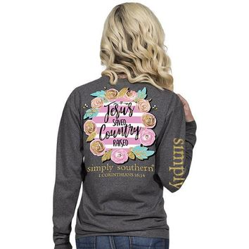 """Simply Southern """"Country Raised"""" Long Sleeve T-Shirt"""
