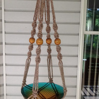 Macrame Plant Hanger,  6 mm Polyolefin cord, brown and beige flecked, pottery color with brown wooden beads , neutral, modern style