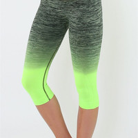 Yoga Capri Pants - Gray and Neon Green