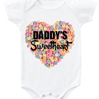 """Valentine's """"Daddy's Sweetheart"""" candy background heart graphic baby bodysuit or organic cotton toddler t shirt"""